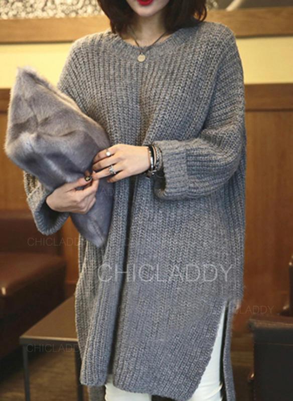 Jednobarevné Hrubá pletenina Kulatý výtřih Dlouhé Volné Svetrové šaty