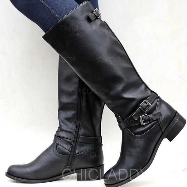 Donna PU Tacco spesso Stivali Punta rotonda con Fibbia Cerniera Colore solido scarpe
