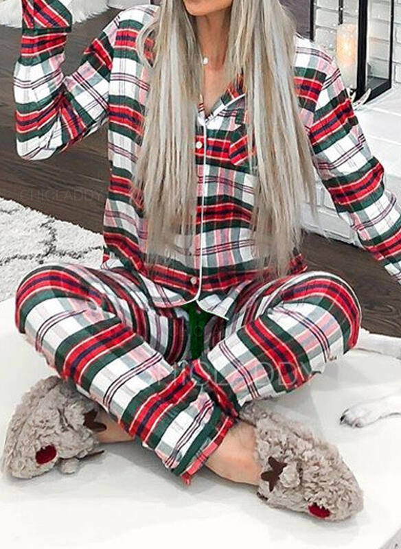 Polyester Dlouhé rukávy Vánoce Mřížka Pajama Set