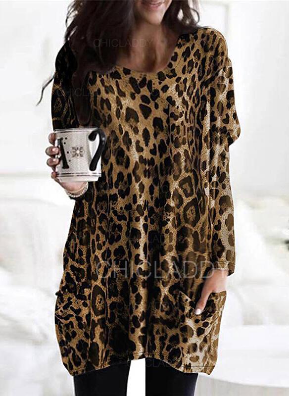 Leopard Kulatý Výstřih Dlouhé rukávy Mikina