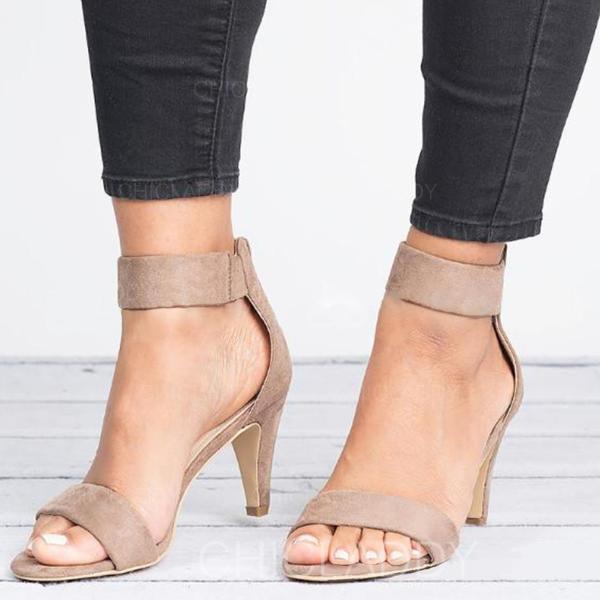 Mulheres Tecido Salto baixo Sandálias com Zíper sapatos