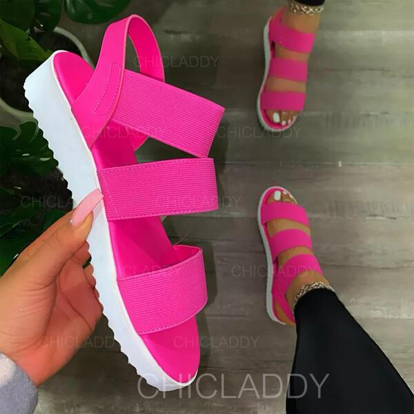 Dámské PU Klínový podpatek Sandály S Vydlabaný Elastický Náramek Solid Color obuv