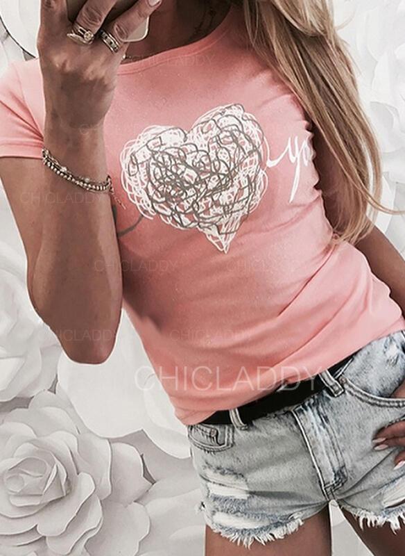 Srdce Tisk Dopis Kulatý Výstřih Krátké rukávy Trička