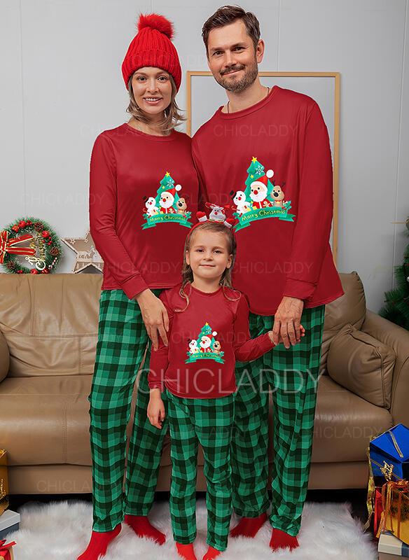 Santa Claus Soby Kostkovaný Rodinné odpovídající Vánoční pyžama