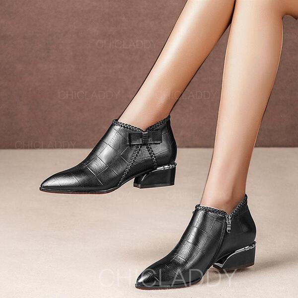 Dla kobiet Skóra ekologiczna Obcas Slupek Kozaki Botki Spiczasty palec u nogi Z Zamek błyskawiczny Jednolity kolor obuwie