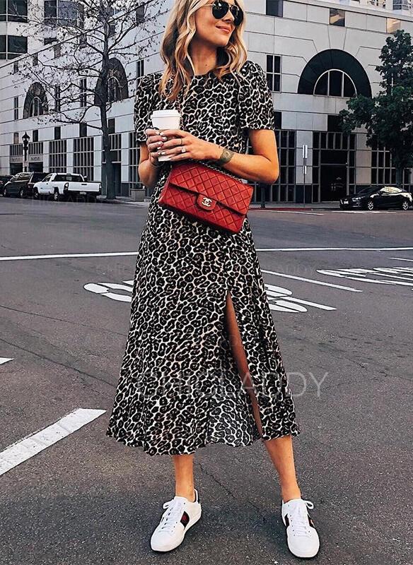lampart Krótkie rękawy W kształcie litery A Łyżwiaż Casual/Wakacyjna Midi Sukienki