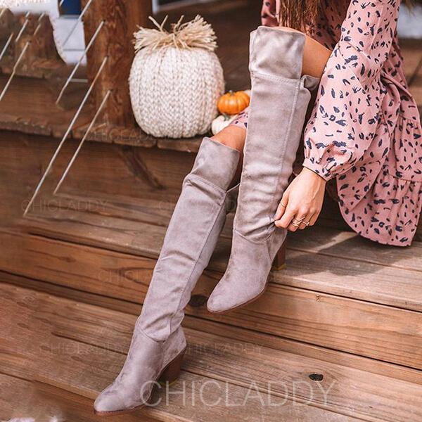 Donna Camoscio Tacco spesso Stivali sopra il ginocchio Punta a punta Scivolare su con Increspato Colore solido scarpe