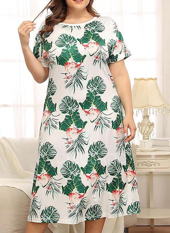 Cuello Redondo Manga Corta Floral Talla extra Atractivo Vestido de noche
