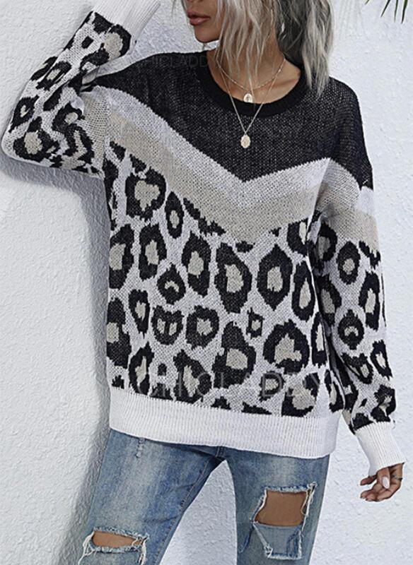 Renk Bloğu leopárd Kulatý krk Neformální Svetry