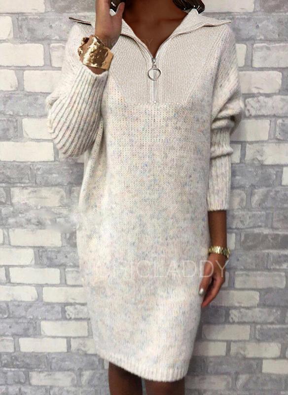 Solido Risvolto Casual Lungo Abito maglione