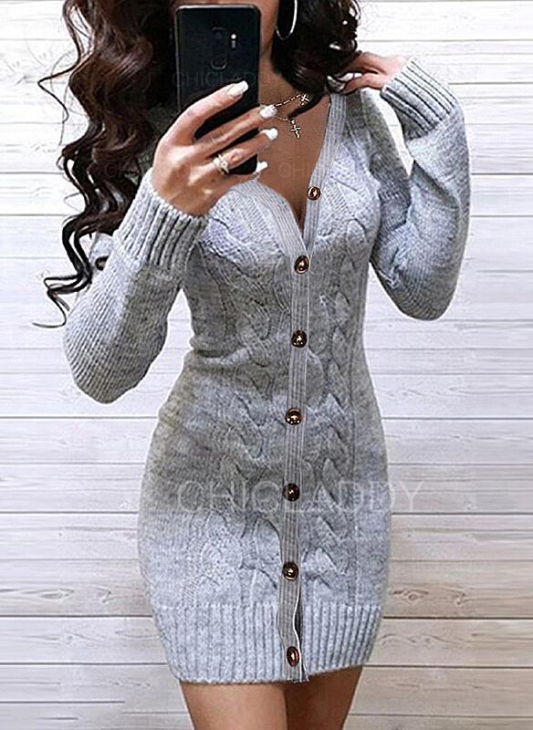 Solido Cavo Knit Scollatura a V Casual Lungo Stretto Abito maglione