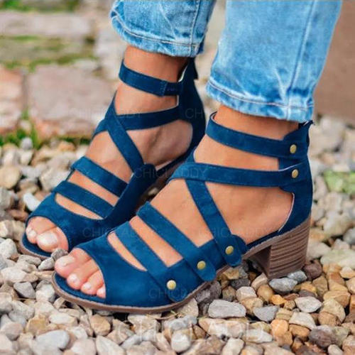 De mujer PU Tacón ancho Sandalias Encaje con Rivet Cremallera zapatos