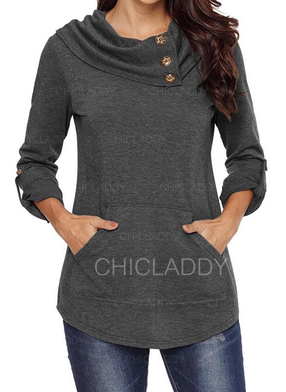 Jednobarevný Kulatý Výstřih Dlouhé rukávy Na Knoflíky Neformální Bluze