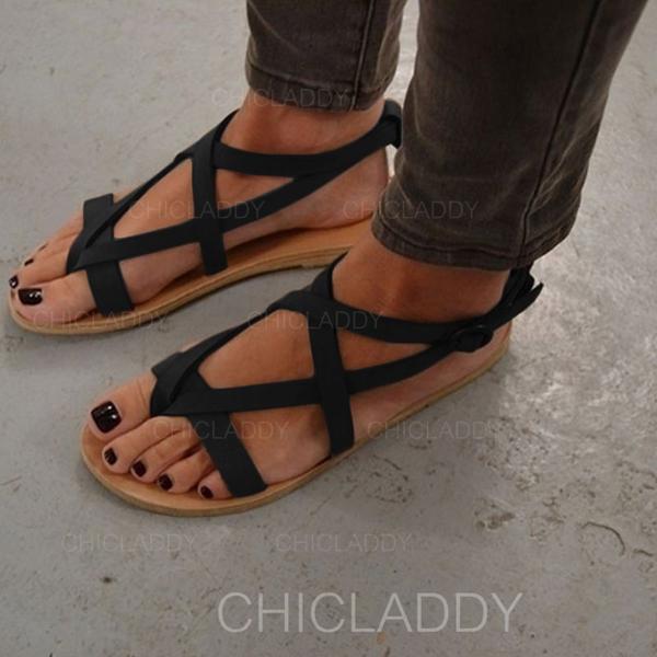 Kvinnor Mocka Flat Heel Sandaler Platta Skor / Fritidsskor Peep Toe med Spänne skor