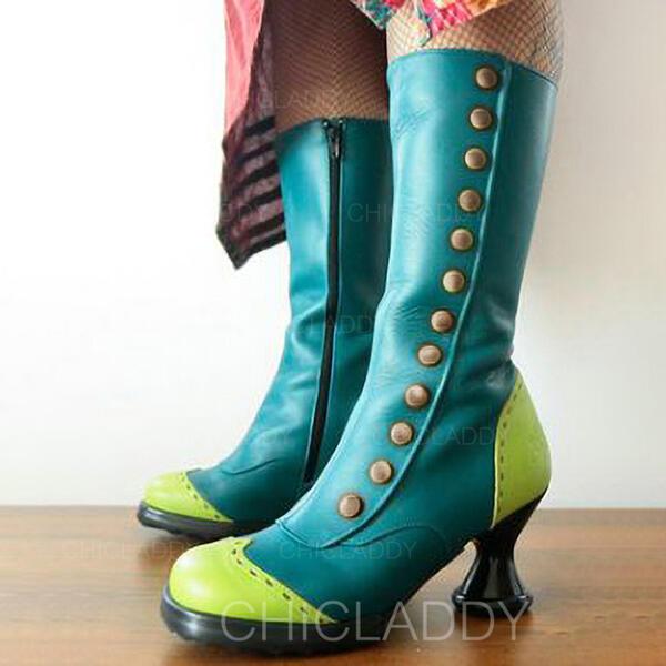 Donna PU Tacchetto Stivali altezza media Punta rotonda con Cerniera Colore giuntura scarpe