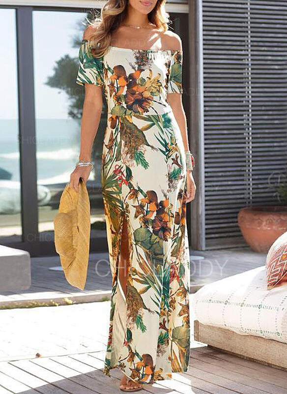 Nadrukowana/Kwiatowy Krótkie rękawy Pokrowiec Casual/Wakacyjna Maxi Sukienki