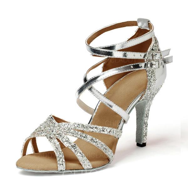 Donna Latino Tacchi Sandalo Similpelle Glitter scintillanti Latino
