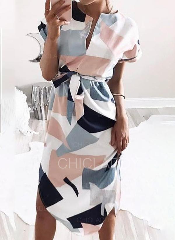 Geometric Print Short Sleeves Sheath Knee Length Casual Dresses