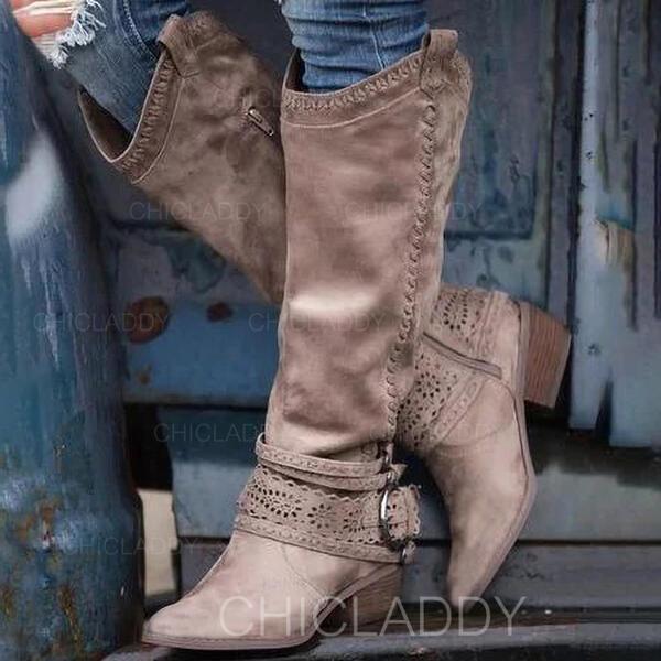 Dámské PU Široký podpatek Kozačky nad kolena S Přezka Zip Vydlabaný Solid Color obuv