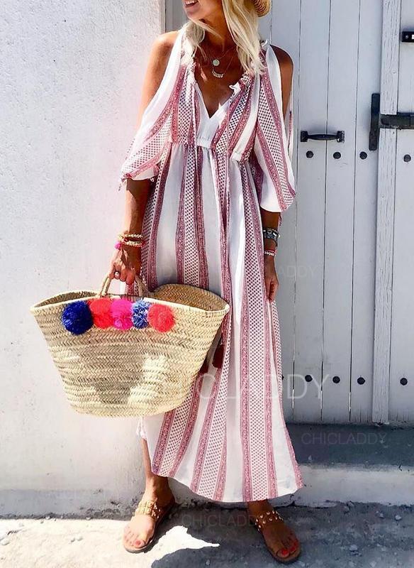 Impresión Top sin hombros Acampanado Casual/Vacaciones Maxi Vestidos