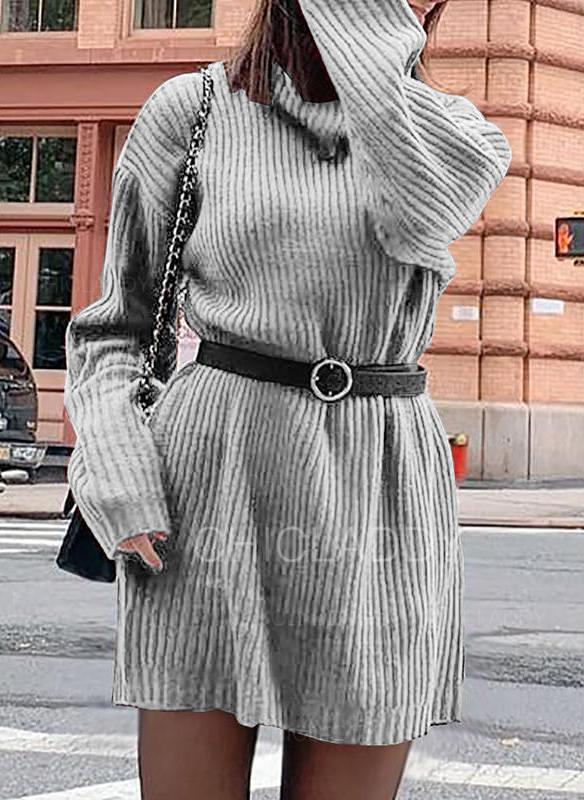 Sólido Manga Comprida Casual Vestidos