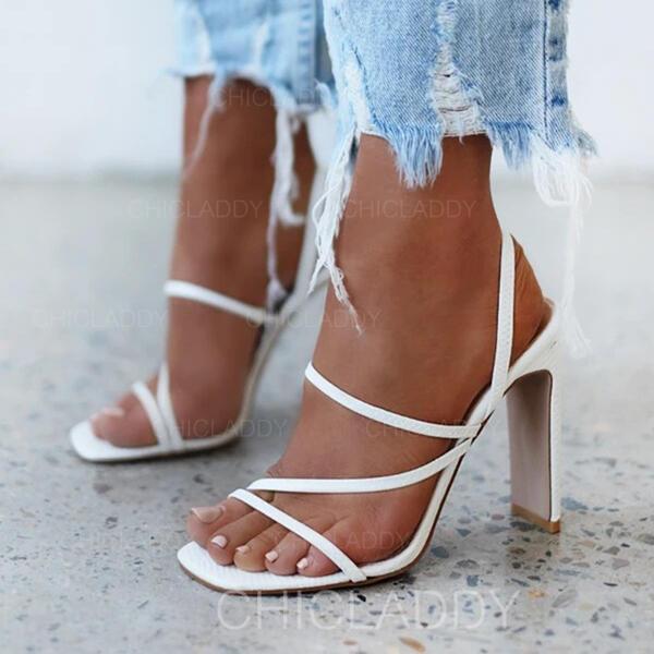 Dla kobiet Mikrofibra Obcas Slupek Otwarty Nosek Buta Z Tkanina Wypalana obuwie
