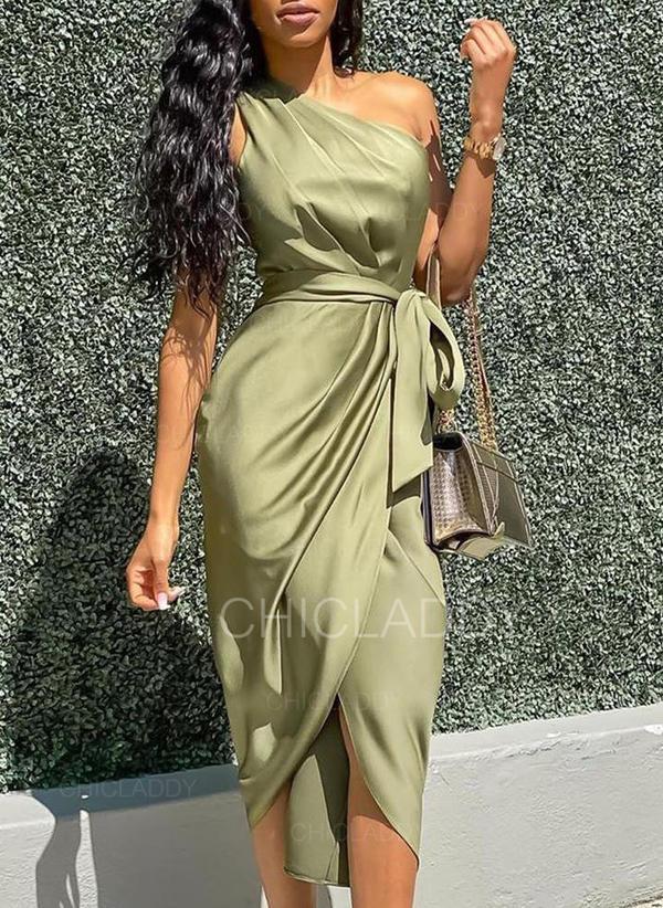 Egyszínű Ujjatlan Testre simuló ruhák Party Midi φορέματα