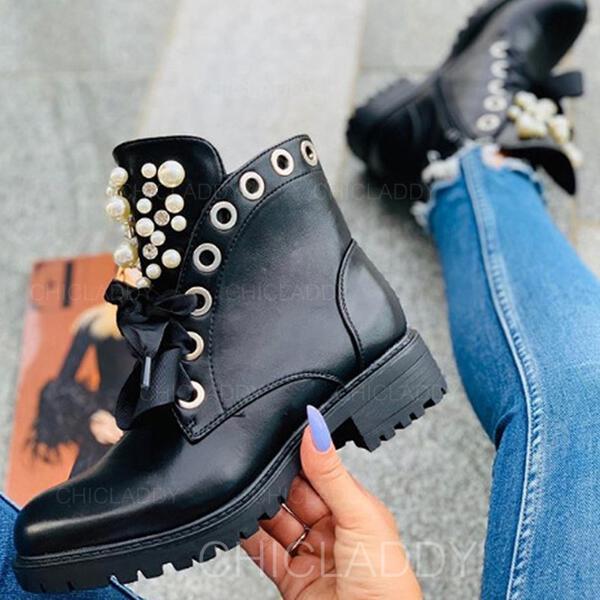 Dla kobiet PU Niski Obcas Martin Buty Round Toe Z Stras/ Krysztal Górski Perła Zamek błyskawiczny Sznurowanie obuwie