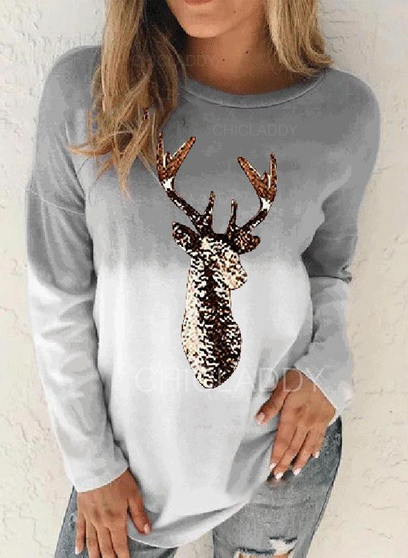 Print Tie Dye Round Neck Long Sleeves Christmas T-shirts