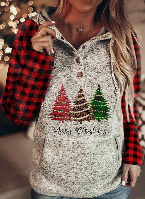 Stampa griglia Figura Maniche lunghe Felpa natalizia