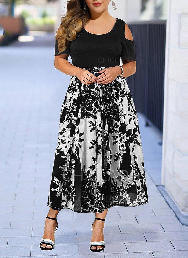 Duży rozmiar Kwiatowy Nadruk Krótkie rękawy Sukienka Trapezowa Midi Elegancki Sukienka