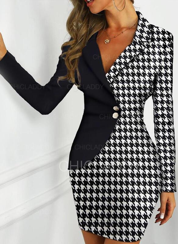 Kostkovaný Dlouhé rukávy Přiléhavé Nad kolena Neformální/Elegantní Šaty