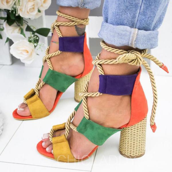 Pentru Femei PU Toc gros Sandale Încălţăminte cu Toc Înalt Puţin decupat în faţă cu Lace-up pantofi