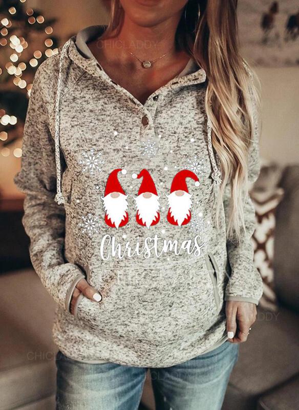 Nyomtatás Postava Kapsy Dlouhé rukávy Vánoční mikina