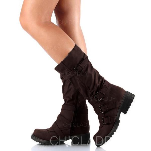 Pentru Femei Imitaţie de Piele Toc jos Cizme cu Fermoar pantofi
