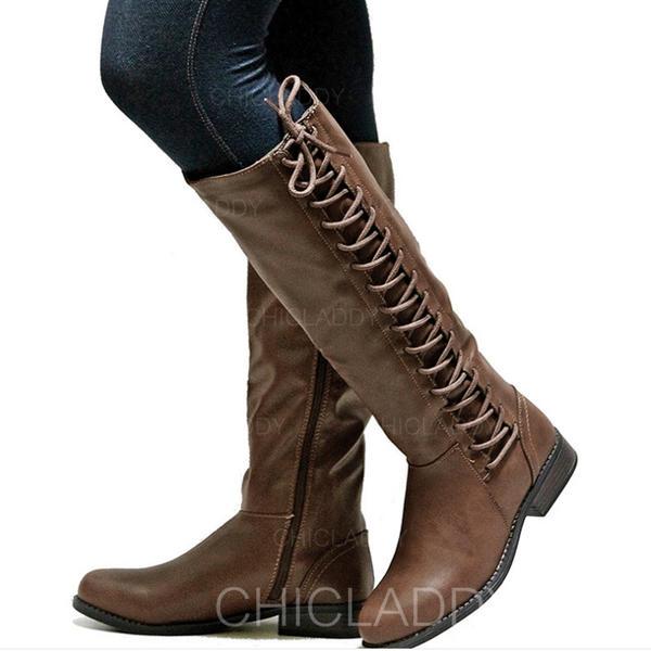 Pentru Femei PU Toc gros Cizme până la genunchi cu Fermoar Lace-up pantofi