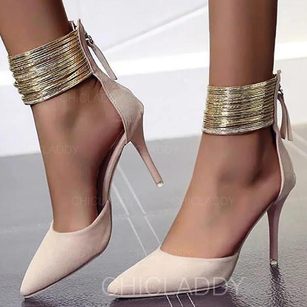 De mujer Ante Tacón stilettos Salón con Cremallera zapatos