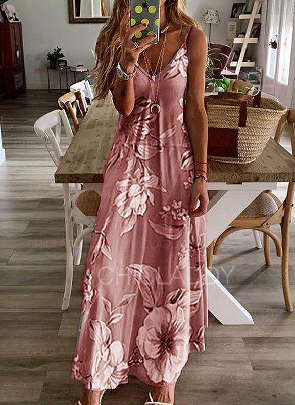 Print/Floral Sleeveless Shift Slip Casual/Boho/Vacation Maxi Dresses