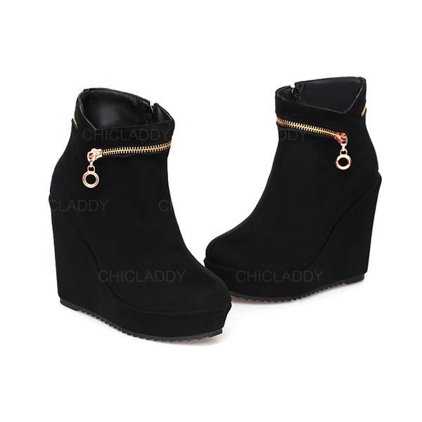 Donna Camoscio Zeppe Piattaforma Zeppe Stivali alla caviglia con Cerniera scarpe