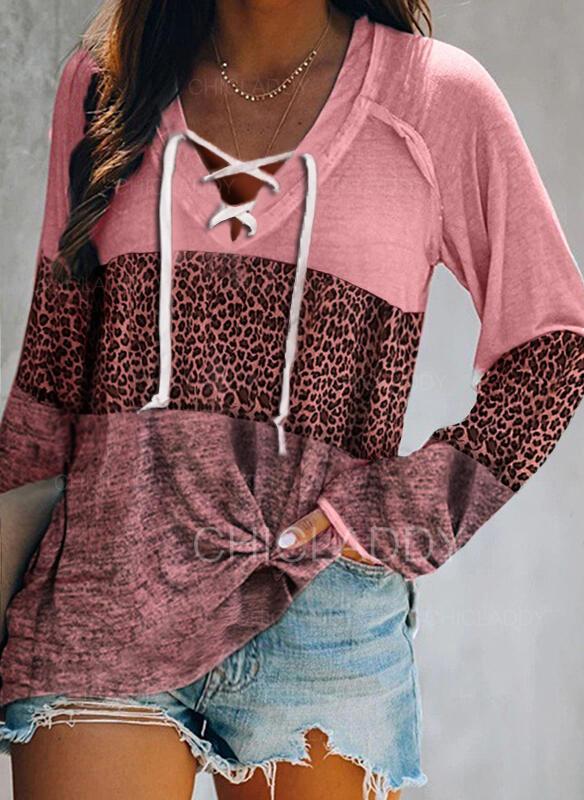 Blocchi di colore leopardo Scollatura a V Maniche lunghe Casuale Camicie
