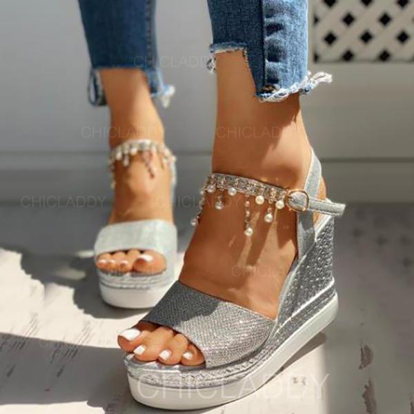 De mujer PU Tipo de tacón Sandalias Cuñas Encaje Tacones con Rhinestone zapatos