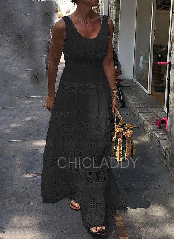 Encaje/Sólido Sin mangas Acampanado Patinador Pequeños Negros/Elegante Maxi Vestidos