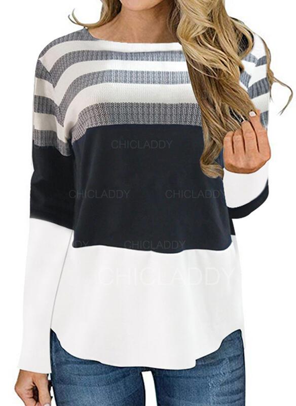 Цветной блок В полоску Шею Длинные рукова Повседневная Блузы