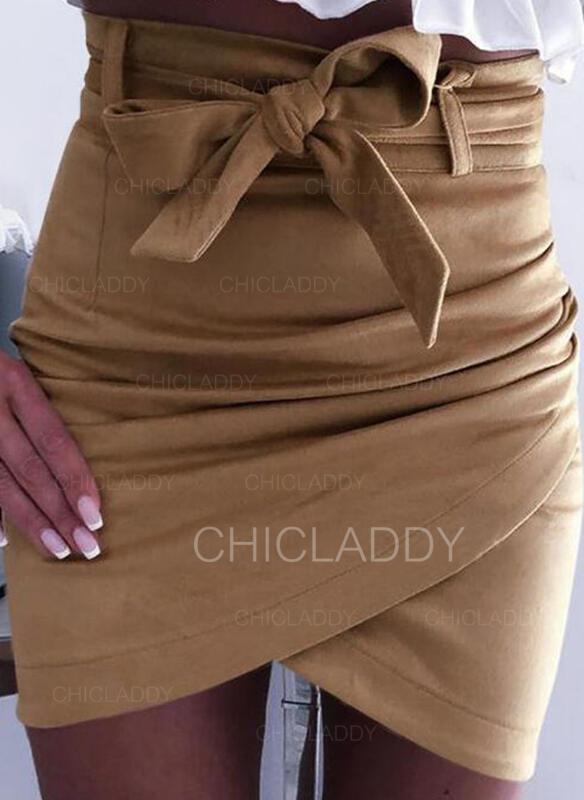 Polyester Pruhované Jednobarevný Nad kolena Sukně Na Tělo