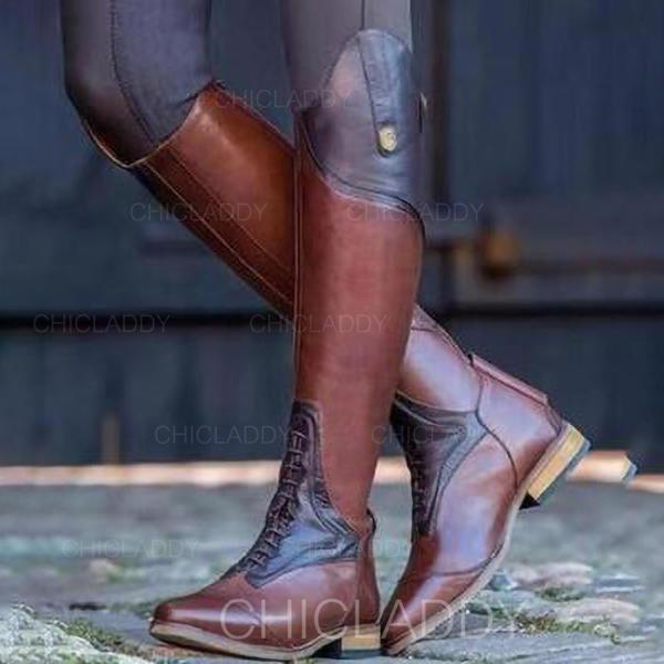 Kvinnor Konstläder Låg Klack Knäkickkängor med Split gemensamma skor