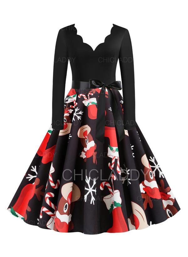 Impresión Manga Larga Acampanado Hasta la Rodilla Vintage/Navidad/Fiesta/Elegante Patinador Vestidos