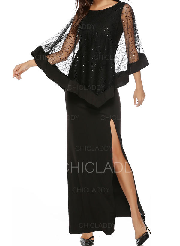Lace/Solid Long Sleeves Sheath Little Black/Party/Elegant Maxi Dresses