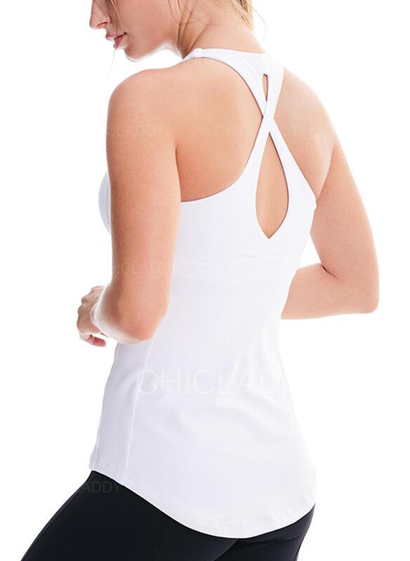 Cuello en U Sin mangas Color sólido Camisetas deportivas