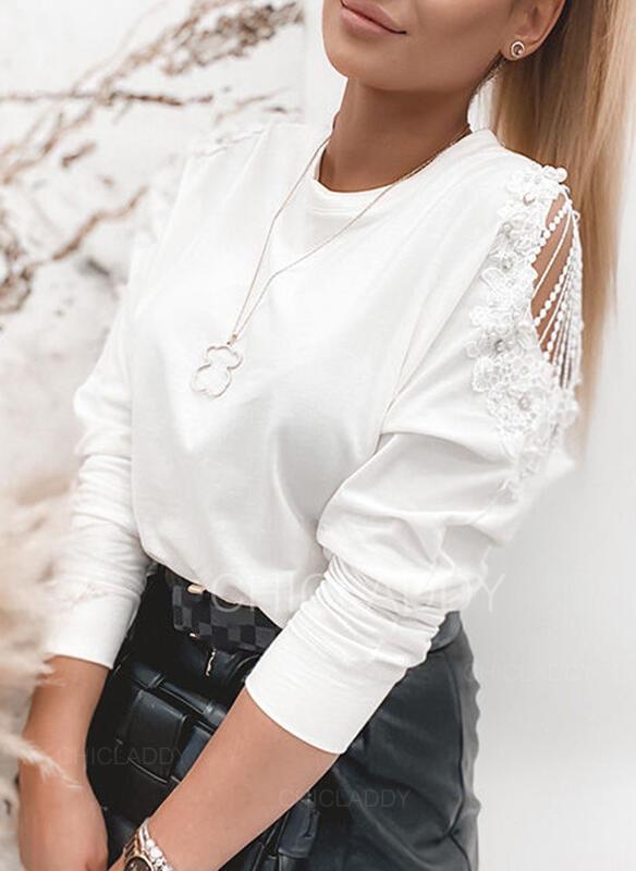 Solido Pizzo In rilievo Girocollo Maniche lunghe Elegante Camicie