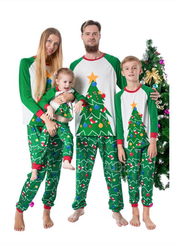 Color-Block Impresión Familia a juego Pijamas De Navidad
